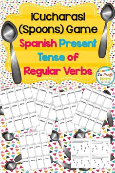 Kids race to collect all seven cards for a regular present tense verb (infinitive + all six conjugated forms) and/or not be the person left without a spoon in this fun game of Cucharas! Great way to reinforce present tense endings in an engaging and lively way!