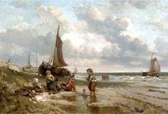 Johan Mari Henri (Mari) ten Kate, (1831-1910) Spelen op het strand. Achter de kinderen trekken de lijnhalers een pink naar het strand. Een aantal schepen is al binnengelopen. In de verte is vaag de vuurtoren te zien. (Coll. Christies.com)