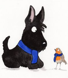 Scottie Dog & Robin by archyscottie