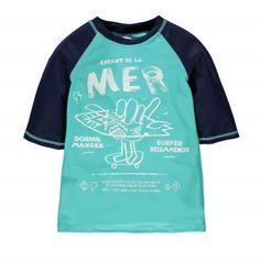 """Child Of The Sea Short Sleeve """"Rashguard"""" Style Swim T-shirt Pale Turquoise / T-shirt de bain de type « rashguard » à manches courtes Souris Mini"""