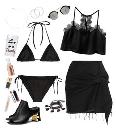 """""""Pool party in black"""" by weightlessdreams ❤ liked on Polyvore featuring Missoni Mare, Marques'Almeida, Chan Luu, Illesteva, Tory Burch, Vernon François, Rebecca Minkoff, Yves Saint Laurent, Christian Dior and MILK MAKEUP"""