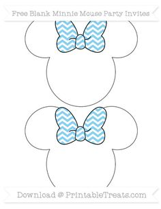 Baby Blue Chevron  Blank Minnie Mouse Party Invites
