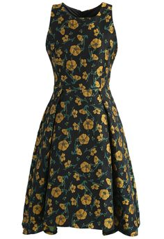 Midnight Flowerland Jacquard Waterfall Dress    - New Arrivals - Retro, Indie and Unique Fashion