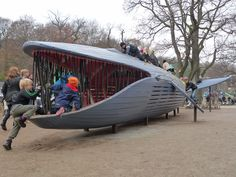 Many of MONSTRUM's playgrounds have an aquatic theme. Children can climb into the gut of this 15-meter-long Blue Whale that's beached in Plikta Park in Gothenburg, Sweden.