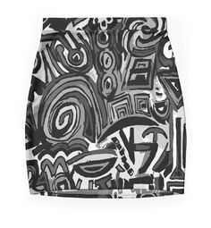 Flat Black and white art symbols by ludodesign Mini skirts - Mini falda