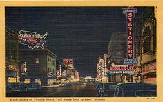 NEVADA RENO  BRIGHT NEON LIGHTS OF VIRGINIA STREET AT NIGHT 1949  LINEN POSTCARD