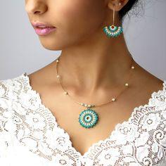 Conjunto de joyería de turquesa regalo para mujer colgante
