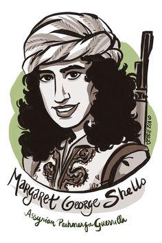 #100days100women Day 43: Margaret Shello—fought for the Kurdish Peshmerga in 1960s Iraq, including several important battles.  https://en.wikipedia.org/wiki/Margaret_George_Shello