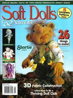 SOFT DOLLS /& ANIMALS~September 2003 cloth doll patterns~techniques~tips magazine