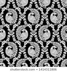 Embroidery Works, Embroidery Designs, Gold Toile Wallpaper, Tangle Patterns, Print Patterns, Indian Peacock, Bridal Silk Saree, Peacock Painting, Black White