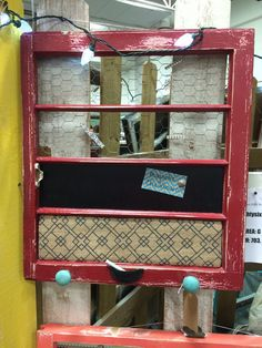 Reclaimed Old Window - Magnetic Chalkboard - Burlap Covered Cork Board - Chicken Wire memo board - Shabby Chic RED - Turquoise Knobs -Rustic