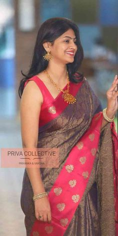 Navratri festive collection of Kora muslin silk sarees with contrast pink border by Priva Collective By : PRIVA COLLECTIVE Saree Blouse Neck Designs, Saree Blouse Patterns, Blouse Designs, Dress Designs, Indian Silk Sarees, Indian Beauty Saree, Beautiful Saree, Beautiful Indian Actress, Sari Bluse