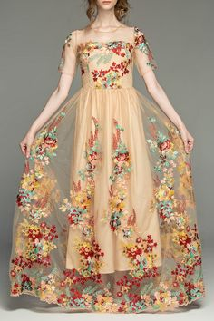 Short Sleeve Embroidered Prom Dress
