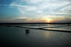 sunset in salt fields