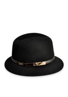Betmar Hats Women's Darcy Felt Gold Buckle Fedora Hat - Heather Gray - One Size