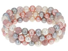 7-8mm White & Multi-color Cultured Freshwater Pearl With Rose Quartz Stretch Bracelet Set Of Three