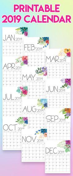 2019 calendar, 2019 calendars, 2019 printable calendars, printable calendar, free printables, free downloadables, printable downloads, calendars 2019, print-at-home calendars, print-at-home 2019 calendar, diy decor, diy decorating, organization ideas