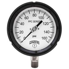 PPC Series 4.5 in. Black Phenolic Case Process Pressure Gauge with 1/2 in. NPT LM and Range of 0-160 psi