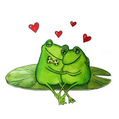 frogs in love Funny Frogs, Cute Frogs, Frosch Illustration, Cute Couple Gifts, Frog Drawing, Frog Tattoos, Frog Pictures, Frog Art, Frog And Toad