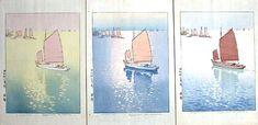 "Yoshida, Hiroshi (1876 - 1950), ""Calm Wind - (Color Proofs) - Set of 3"" / Castle Fine Arts Toledo Museum Of Art, Art Museum, His Travel, Landscape Prints, Woodblock Print, Great Artists, Printmaking, Castle, September 19"