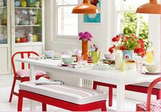 Cath Kidston kitchen - love the use of color Red Kitchen, Kitchen Colors, Kitchen Design, Kitchen Decor, Happy Kitchen, Kitchen Dinning, Sweet Home, Cath Kidston Kitchen, Style Deco
