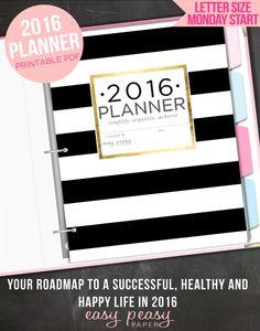 2016 Planner PRINTABLE 2016 Organizer - Letter Size 2016 Printable Planner by EasyPeasyPaper on Etsy https://www.etsy.com/listing/242820794/2016-planner-printable-2016-organizer