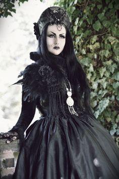 Larissa Ulrique Goth Gothic Blackdress Longhair Blackhair Piercings