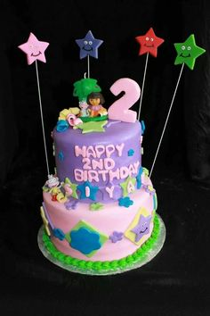 Pink and purple dora the explorer cake