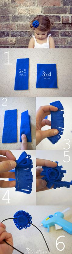 長方形のフェルトを2つ折りにしてハサミでチョキチョキ切り込みを入れていきます。それをくるくる丸めてゆけば・・・これでまたフラワーモチーフのバリエーションが増えましたね!