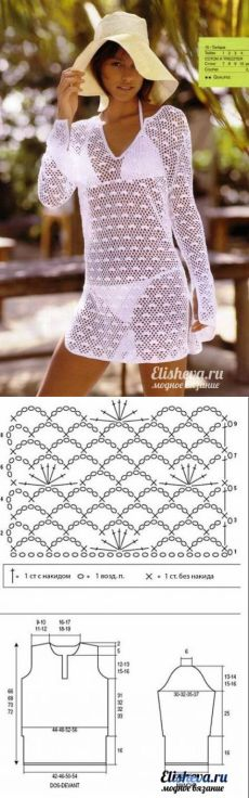 New crochet skirt diagram moda Ideas Crochet Skirts, Crochet Tunic, Crochet Clothes, Crochet Lace, Beach Crochet, Crochet Bikini, Mode Crochet, Crochet Woman, Crochet Fashion