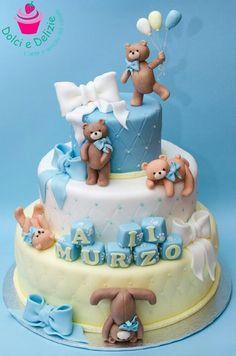 baby shower cake with bear Baby Boy Cakes, Cakes For Boys, Fancy Cakes, Cute Cakes, Teddy Bear Cakes, Teddy Bears, Torta Baby Shower, Love Cake, Creative Cakes