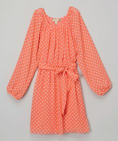 Love this Speechless Orange Polka Dot Dress by Speechless on #zulily! #zulilyfinds