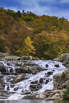 MISSOURI - Rocky Falls in southern Missouri. The famous waterfall is located in the Mark Twain National Forest near Eminence Missouri Hiking, Kansas City Missouri, Camping Places, Places To Travel, Places To See, Mark Twain National Forest, Famous Waterfalls, Wisconsin, Michigan
