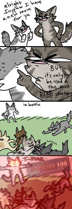 *clipping through space and time* by diddlydarndunkaccino on DeviantArt Warrior Cats Funny, Warrior Cats Comics, Warrior Cat Memes, Warrior Cats Series, Warrior Cats Books, Warrior Cat Drawings, Warrior Cats Fan Art, Cat Comics, Funny Comics