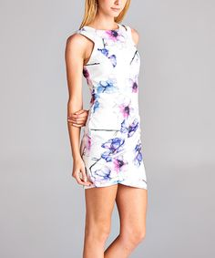 Loving this Love, Kuza Ivory Floral Back-Zip Bodycon Dress on #zulily! #zulilyfinds
