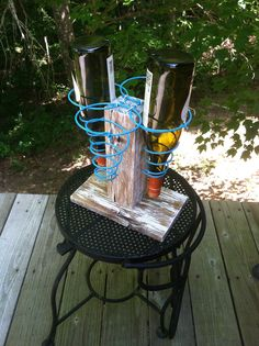 Wine rack made from bed springs and pallet wood http://www.creekwalkerart.com