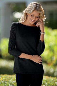 Essential Knit Boatneck Tee in  from Chadwicks Of Boston on shop.CatalogSpree.com, your personal digital mall.