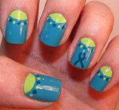Ovarian Cancer Awareness Nail Art Tutorial ~ any reason to support this great cause! Easy Nail Art, Cool Nail Art, Diy Nails, Cute Nails, Pretty Nails, Really Easy Nails, Ovarian Cancer Awareness, Autism Awareness, Cervical Cancer