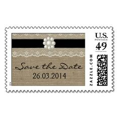 BLACK LACE AND PEARL BURLAP WEDDING POSTAGE STAMPS