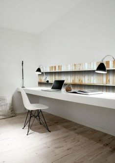 10 a minimalist home office nook with a touch of faux reclaimed wood on the wall, a floating desk, a couple of wall-mounted lamps and a white chair - Shelterness Home Office Space, Office Workspace, Home Office Design, House Design, Office Nook, Office Shelf, Shelf Desk, Interior Work, Interior Architecture