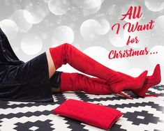 All I want for Christmas.is definitely ! Make A Gift, Xmas, Christmas, Color Trends, New Outfits, Red Color, Boots, Black, Fashion
