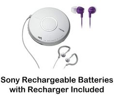 Sony Walkman Portable Skip-Free CD Player & AM FM Radio with Earbud Headphones, 30 Preset Stations, Digital Mega Bass Sound, AVLS, Violet In-Ear Earbud Headphones & Sony Rechargeable Batteries with Recharger by Sony. $69.95. All in One CD PlayerDigital AM FM Tuner Allows you to listen to your favorite radio stations. 30 Station Preset 20FM & 10AMSkip-Free G-Protection Technology Continues to provide quick recovery from both horizontal & vertical shockDigital Mega Bass So...