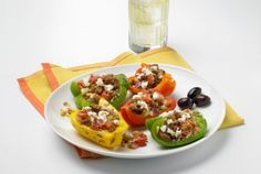 Colorful Turkey Stuffed Peppers | lowfat | sodiumsmart | turkey | peppers | http://www.jennieo.com/recipes/96-Colorful-Turkey-Stuffed-Peppers