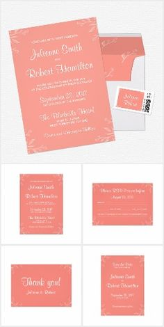 Coral | Simple and Elegant Wedding Suite Bright and playful, this simple and elegant wedding suite is perfect for a spring wedding.