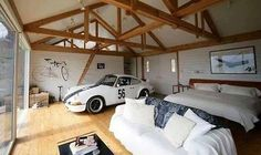 Porsche 911 in the bedroom.