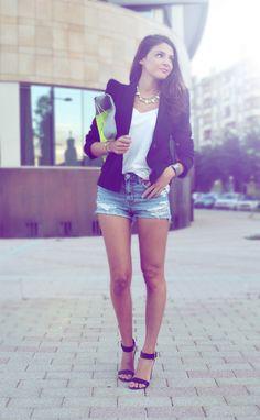 White top + blazer + shorts + heels.