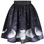Galaxy Moon Starry Sky Print Skirt