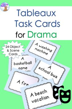 Teaching drama? Use these 32 task cards of objects and scenes to play a fun tableaux game! Students get into small groups, choose a card, and create the frozen picture together.