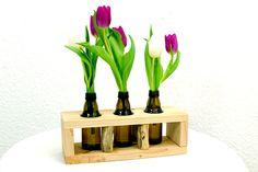 Vase edles Holzregal Glasflasche Blumen Upcycling von SchlueterKunstundDesign - Wohnzubehör, Unikate, Treibholzobjekte, Modeschmuck aus Treibholz auf DaWanda.com