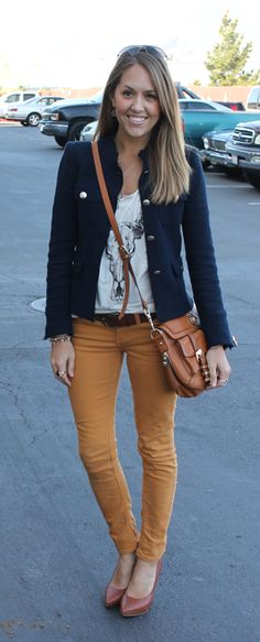 Pair mustard colored denim with navy and tan accessorizes for a classic-casual fall outfit.